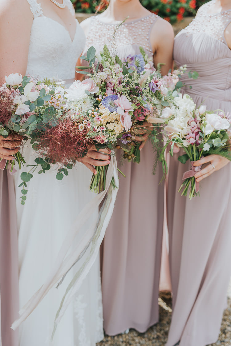 Bouquet Bride Bridal Pink Rose Nigella Stocks Flowers Pastel Ribbon Silk Bridesmaids Non-Traditional Country Party Barn Wedding Yorkshire http://www.lauracalderwood.co.uk/