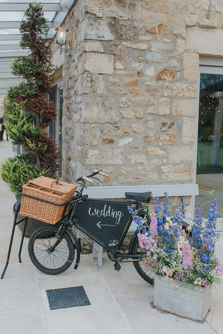 Bicycle Sign Flowers Non-Traditional Country Party Barn Wedding Yorkshire http://www.lauracalderwood.co.uk/
