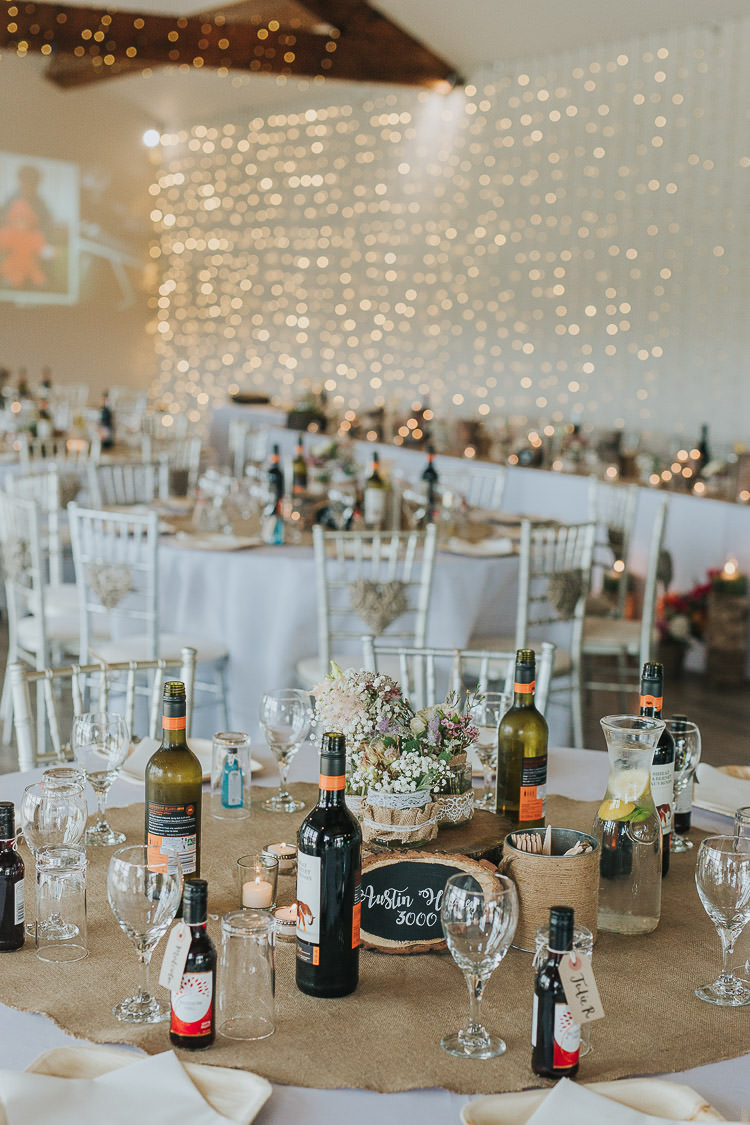 Fairy Lights Curtain Decor Hessian Tables Non-Traditional Country Party Barn Wedding Yorkshire http://www.lauracalderwood.co.uk/
