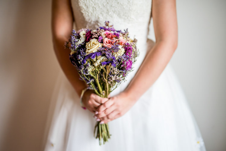 Dried Flowers Bouquet Bride Bridal Mismatched Colourful Wildflower Meadow Wedding Hush Venues Norfolk http://lighteningphotography.co.uk/