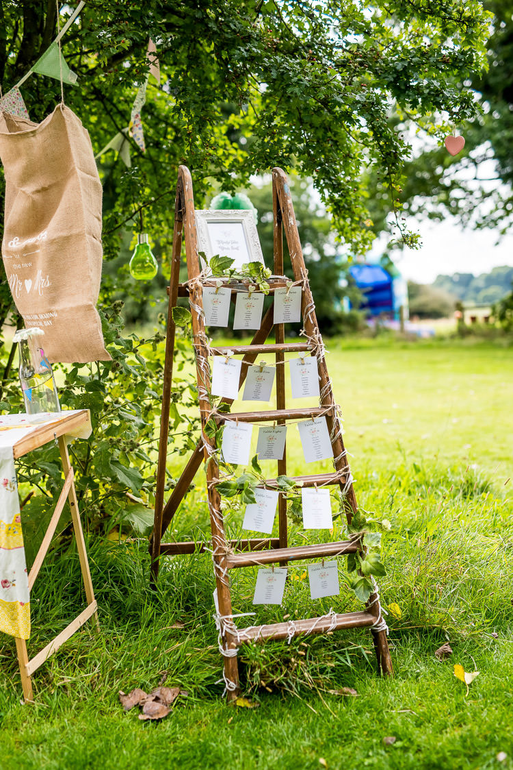 Wooden Ladder Seating Plan Table Chart Mismatched Colourful Wildflower Meadow Wedding Hush Venues Norfolk http://lighteningphotography.co.uk/