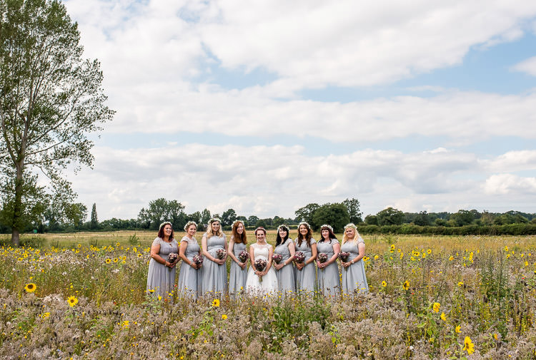 Long Grey Maxi Dresses Bridesmaids Mismatched Colourful Wildflower Meadow Wedding Hush Venues Norfolk http://lighteningphotography.co.uk/