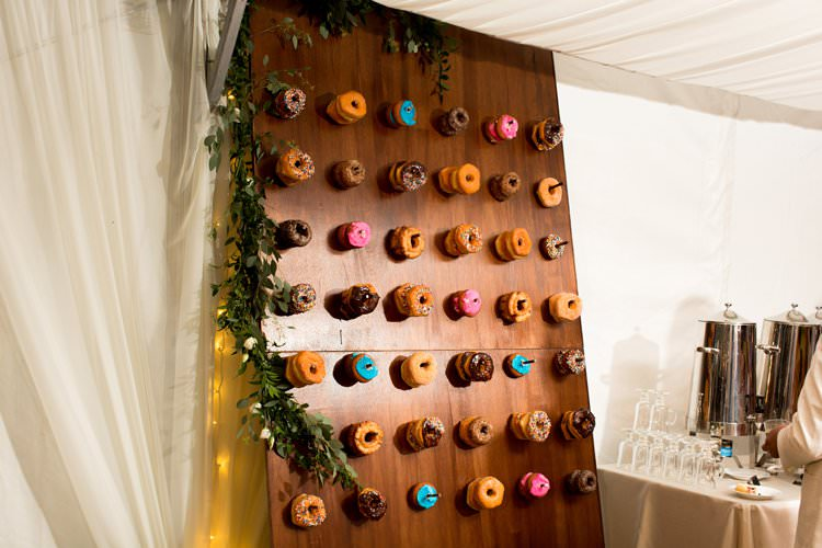 Outdoor Summer Field Rustic Marquee Tipi Tent Donut Wall | Black Tie Carnival Wedding Hot Air Balloon http://www.makingthemoment.com/