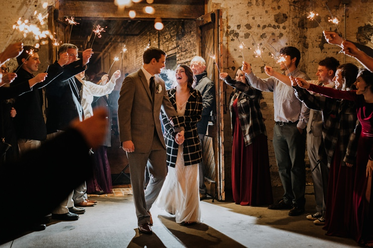 City Urban Georgia Engine Room Exposed Bricks Bride Groom Sparkler Exit | Bohemian Industrial Oxblood Wedding https://www.lunaleephotos.com/