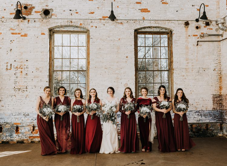 City Urban Georgia Engine Room Exposed Bricks Bride Burgundy Bridesmaids White Foliage Bouquet | Bohemian Industrial Oxblood Wedding https://www.lunaleephotos.com/