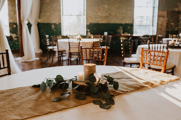 City Urban Georgia Engine Room Exposed Bricks Rustic Hessian Runner Eucalyptus Candle Centrepiece | Bohemian Industrial Oxblood Wedding https://www.lunaleephotos.com/