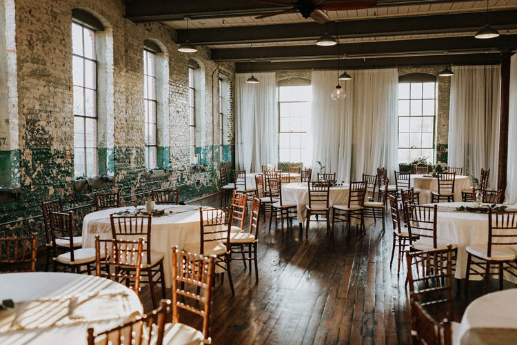 City Urban Georgia Engine Room Exposed Bricks Reception Dinner Chiavari Chairs Rustic | Bohemian Industrial Oxblood Wedding https://www.lunaleephotos.com/