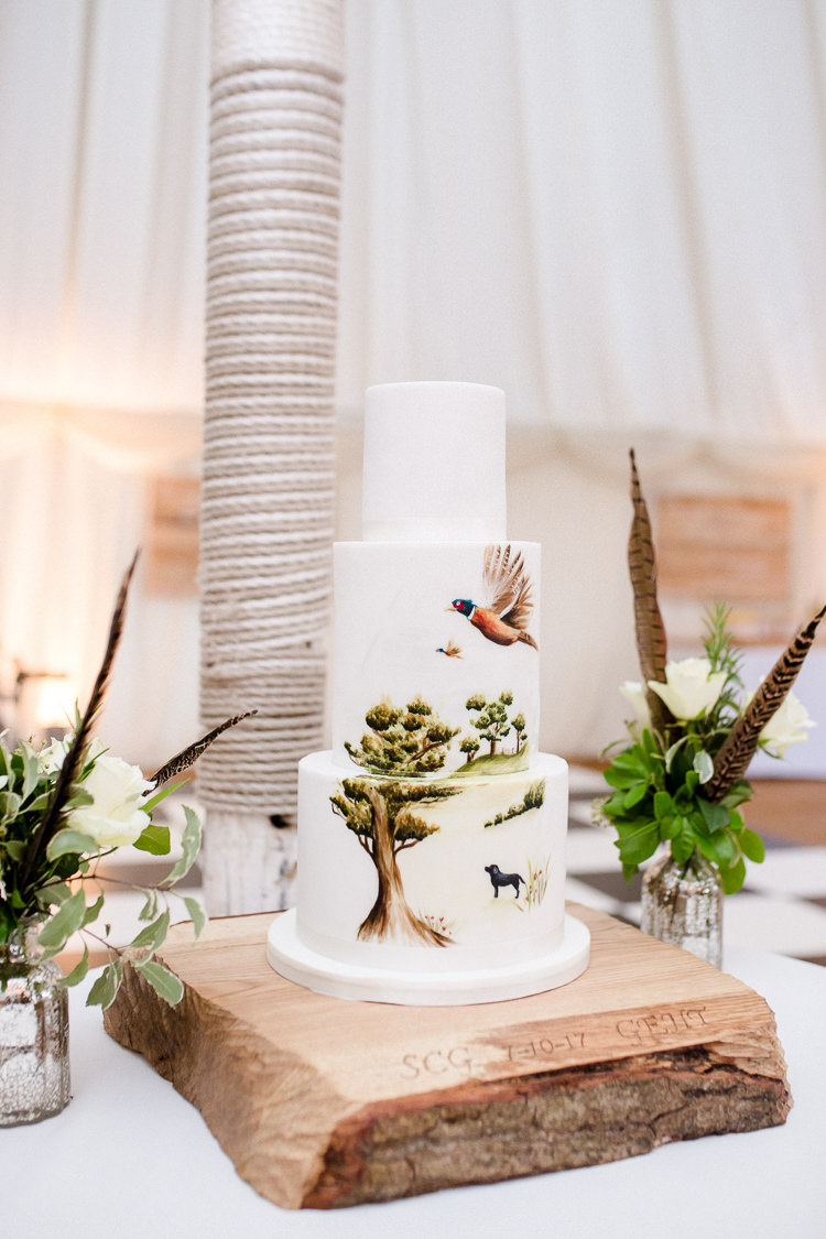 Cake Hand Painted Country Scene Pheasant Wooden Stand Foliage Floral Feather Autumn Countryside Family Farm Wedding Dorset http://www.lydiastampsphotography.com/
