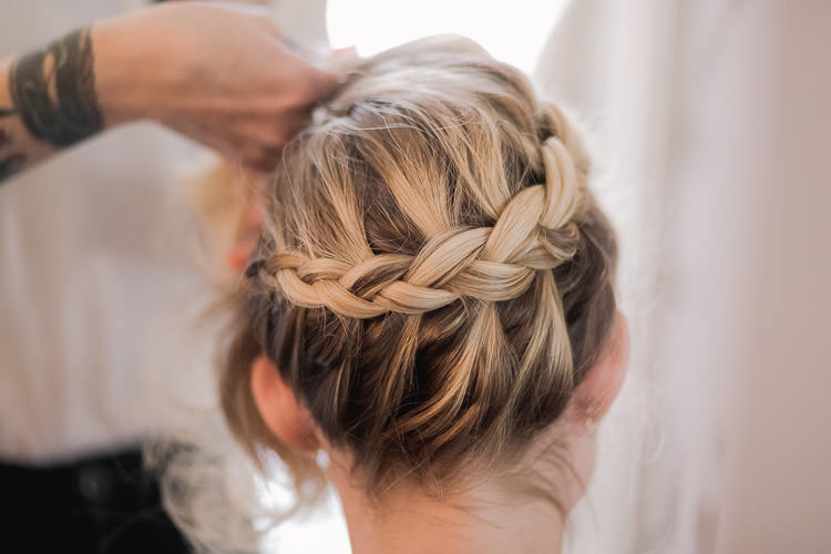 Hair Bride Bridal Halo Braid Plait Style Up Do Colourful Indie London City Wedding Clissold House West Reservoir Centre https://www.murrayclarke.co.uk/