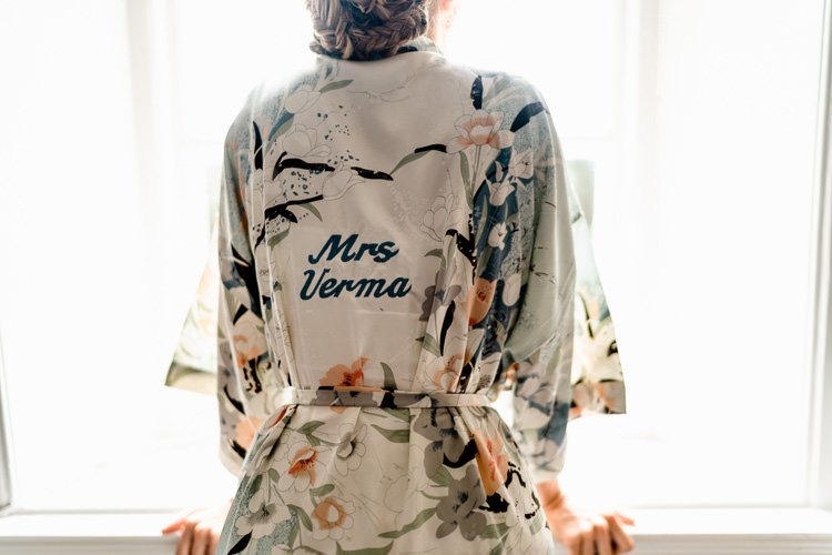 Bespoke Personalised Dressing Gown Silk Bride Bridal Getting Ready Nostalgic Honest British Loseley Park Wedding Surrey https://www.johnbarwoodphotography.co.uk/