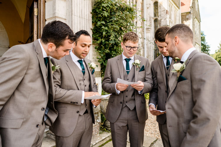 Groomsmen Grey Suits Bottle Green Tie Pocket Square Nostalgic Honest British Loseley Park Wedding Surrey https://www.johnbarwoodphotography.co.uk/
