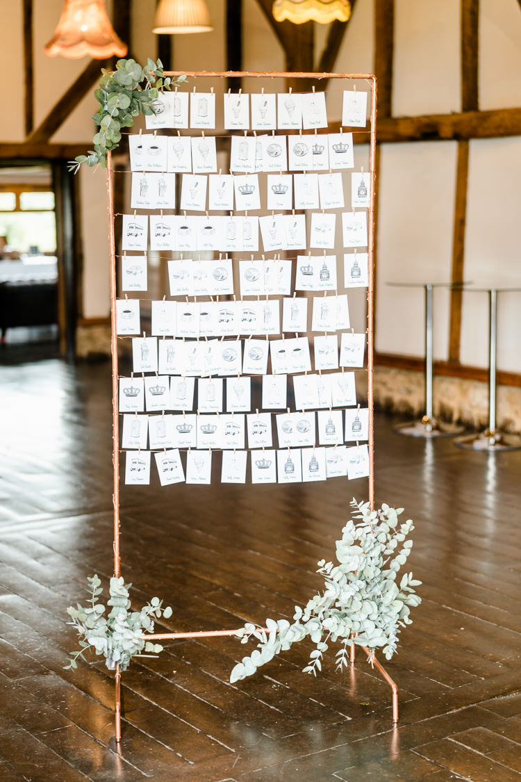 Table Plan Copper Pipe Pegs Seating Chart Nostalgic Honest British Loseley Park Wedding Surrey https://www.johnbarwoodphotography.co.uk/