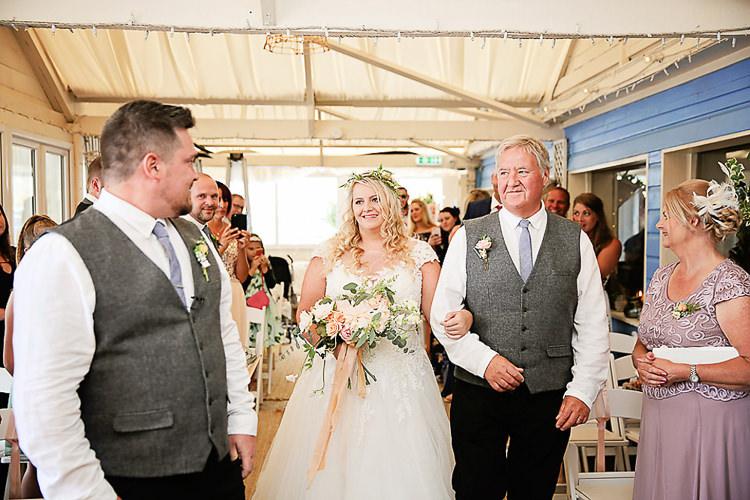 Bride Bridal Dress Gown Lace V Neck Cap Sleeve Pink Peach Bouquet Groom Waistcoat Tweed Grey Pretty Sparkly Lusty Glaze Beach Cornwall Wedding http://victoriamitchellphotography.com/