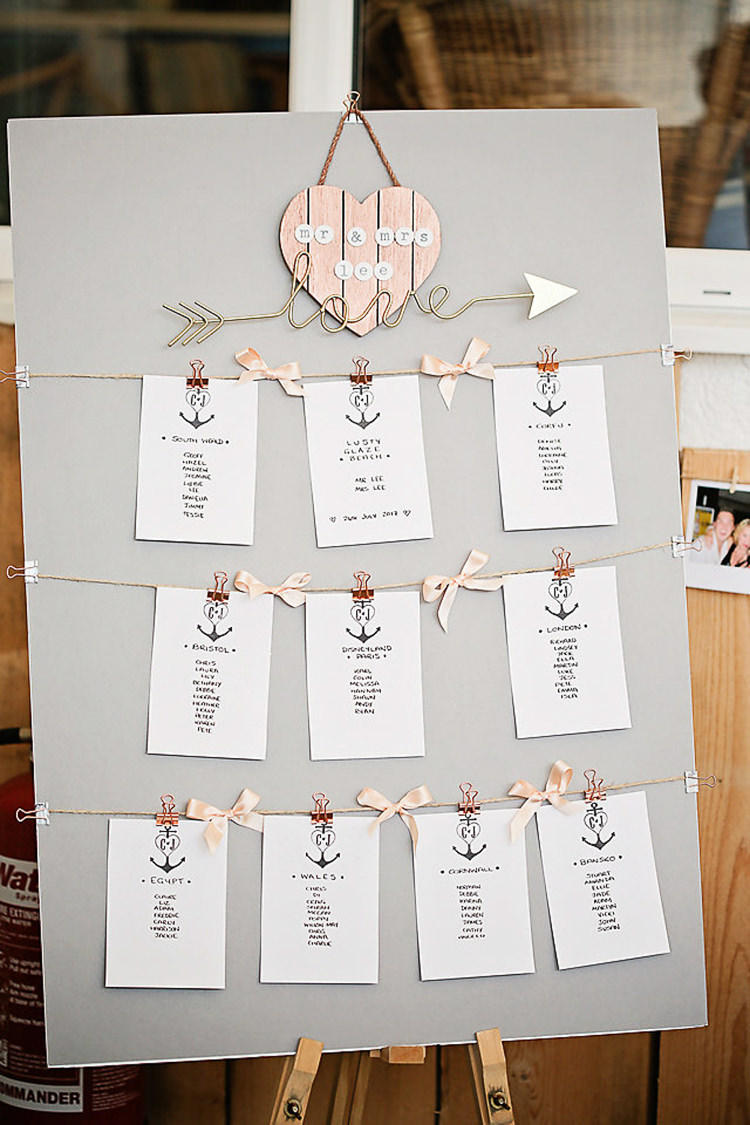 Table Plan Seaside Anchor Pegs Rose Gold Pink Pretty Sparkly Lusty Glaze Beach Cornwall Wedding http://victoriamitchellphotography.com/
