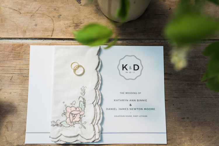 Stationery Hanky Handkerchief Rings Spring Floral Polytunnel Sunny Wedding Colstoun House Scotland http://solenphotography.co.uk/