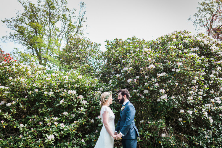 Bride Bridal Gown Dress Backless Simple Cap Sleeve Lace Train Flower Greenery Crown Blue Suit Hackett Groom Spring Floral Polytunnel Sunny Wedding Colstoun House Scotland http://solenphotography.co.uk/