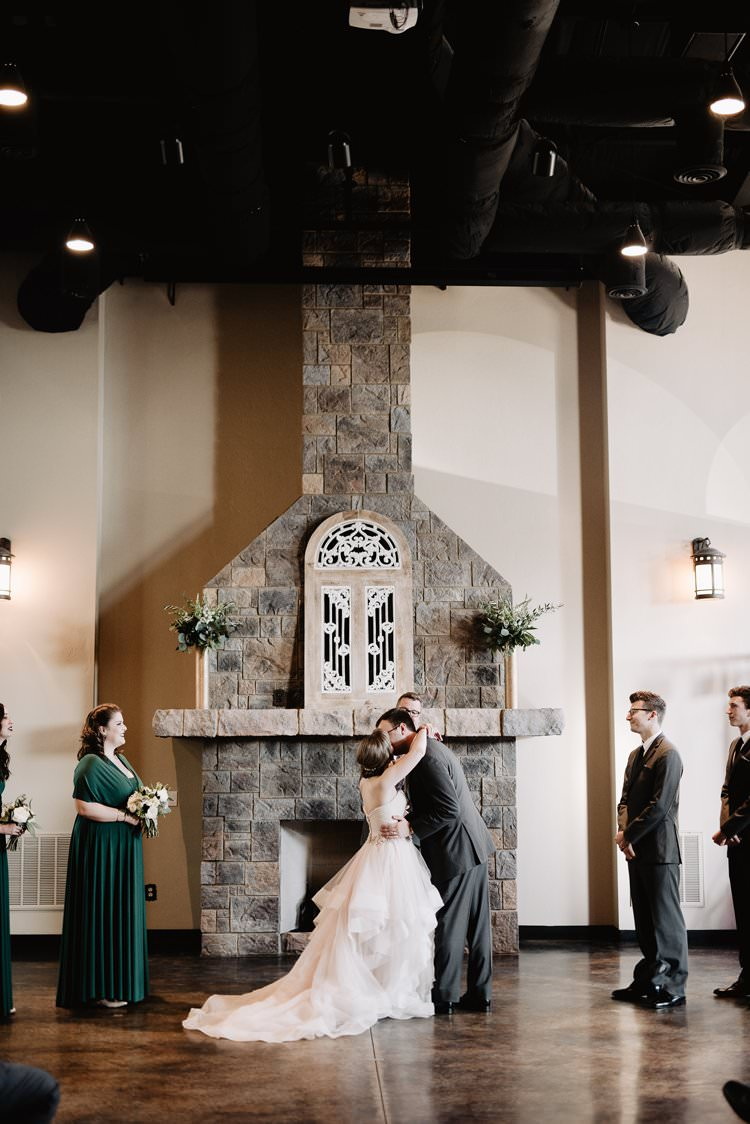 Outdoor Destination Classic Pink Bride Princess Gown Neutral Simple White Romantic Castle Window Aisle Ceremony Kiss | Dreamy Blush Emerald Fairytale Wedding Oklahoma http://www.kelcyleighphotography.com/