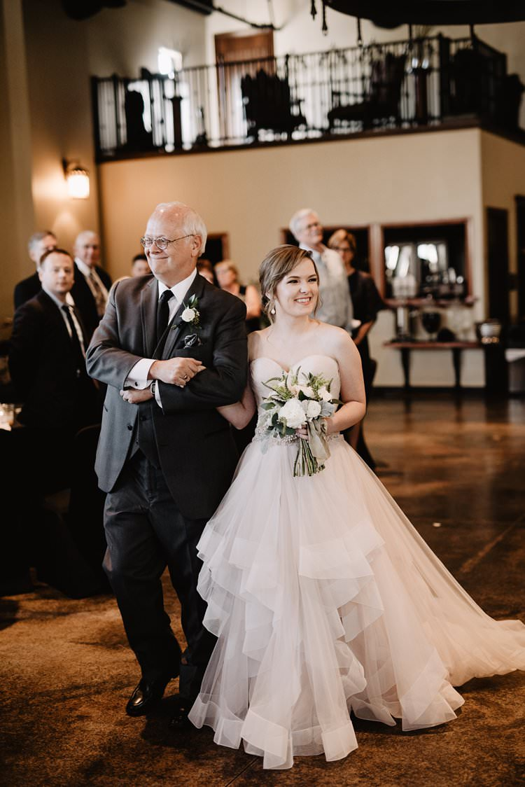 Outdoor Destination Classic Pink Bride Princess Gown Neutral Simple White Greenery Bouquet Romantic Ceremony Aisle Father | Dreamy Blush Emerald Fairytale Wedding Oklahoma http://www.kelcyleighphotography.com/