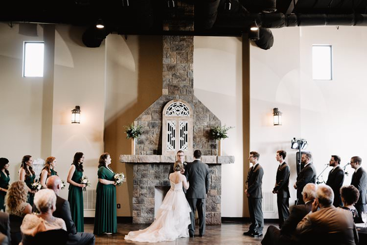 Outdoor Destination Classic Pink Bride Princess Gown Neutral Simple White Romantic Castle Window Aisle Ceremony | Dreamy Blush Emerald Fairytale Wedding Oklahoma http://www.kelcyleighphotography.com/