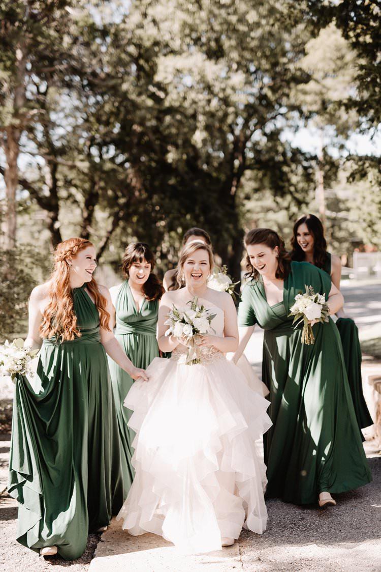 Outdoor Destination Classic Romantic Pink Princess Gown Bride Emerald Green Bridesmaids | Dreamy Blush Emerald Fairytale Wedding Oklahoma http://www.kelcyleighphotography.com/