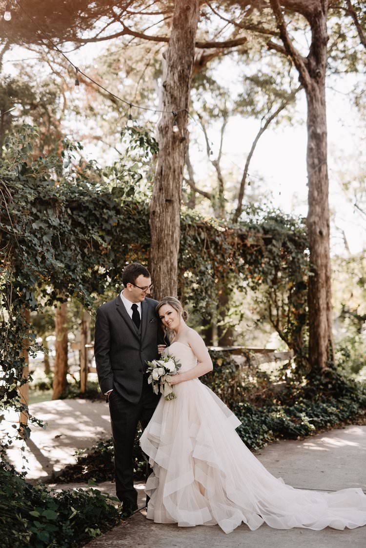 Outdoor Destination Classic Pink Bride Gown Neutral Simple White Greenery Bouquet Festoon Lighting | Dreamy Blush Emerald Fairytale Wedding Oklahoma http://www.kelcyleighphotography.com/