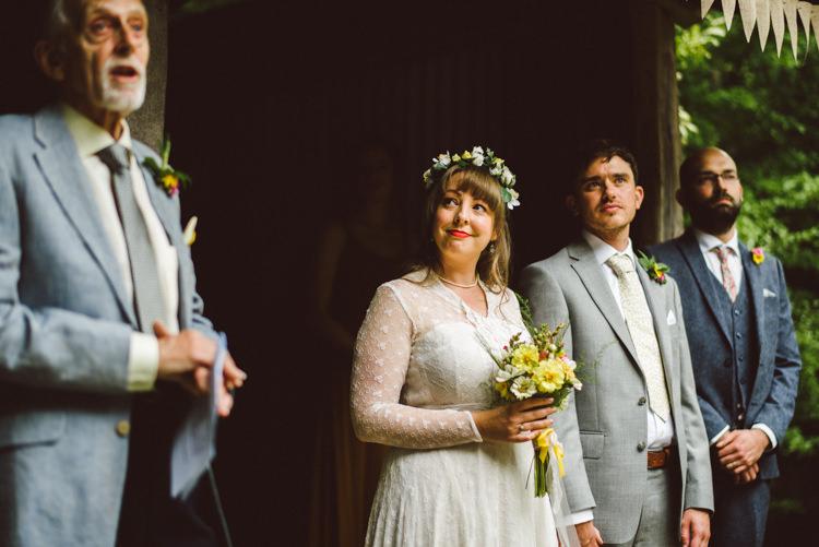 Bride Bridal Lace long Sleeved Dress Gown V Neck Wild Flower Bouquet Yellow Dip Dye Underskirt Groom Grey Suit Woodland Organic Farm Shop Wedding Gloucestershire https://www.edgodden.co.uk/