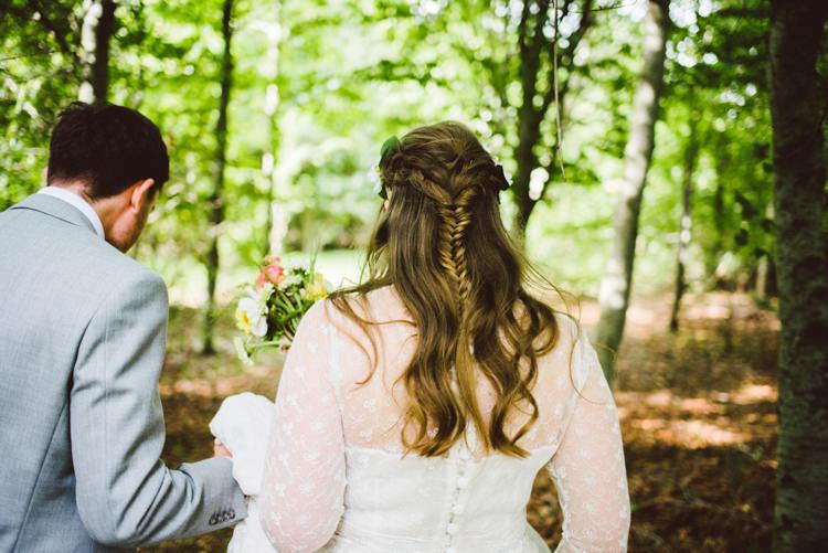 Bride Bridal Hair Style Fishtail Plait Half Up Down Woodland Organic Farm Shop Wedding Gloucestershire https://www.edgodden.co.uk/