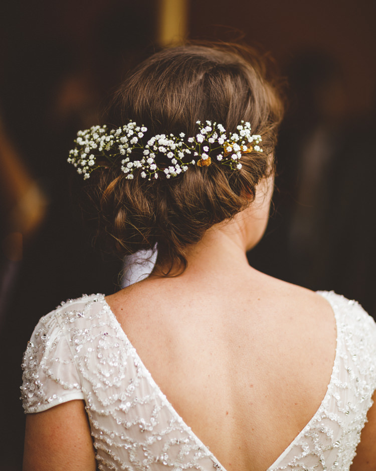 Bride Bridal Hair Up Do Flowers Gypsophila Twist Relaxed Country Tipi Yellow Wedding Hampshire https://photography34.co.uk/