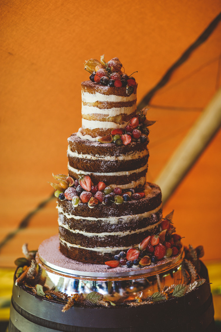 Naked Cake Sponge Tall Tiers Fruit Buttercream Relaxed Country Tipi Yellow Wedding Hampshire https://photography34.co.uk/