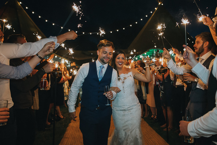 Bride Bridal Sottero & Midgeley Dress Gown Lace Shoulder Detail Richard James Suit Three Piece Waistcoat Blue Groom Sparklers Colourful Outdoor Tipi Farm Wedding https://kirstymackenziephotography.co.uk/