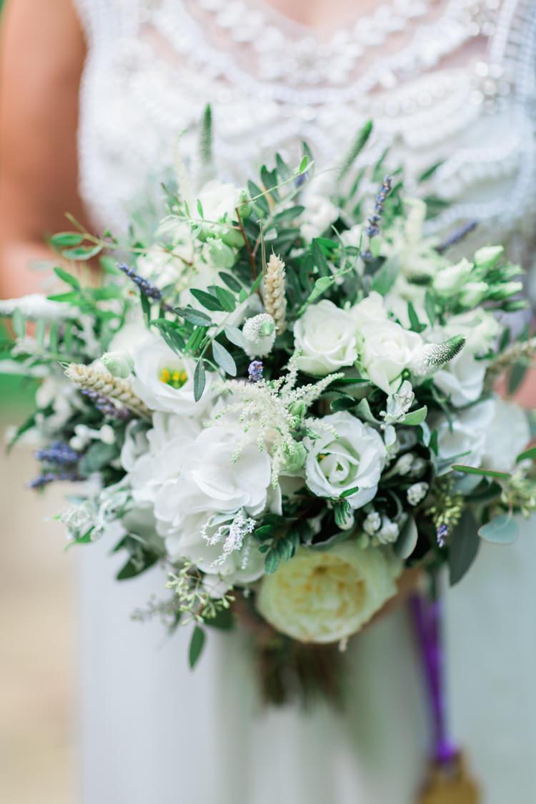 Bouquet Flowers Bride Bridal White Peony Hydrangea Rose Wheat Greenery Fresia Hazy Summer Lavender Grey Wedding Cripps Barn Cotswolds http://jobradbury.co.uk/
