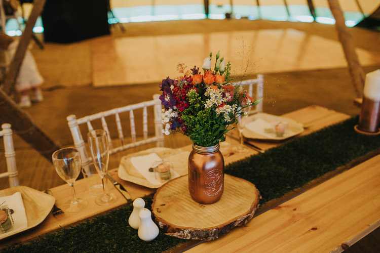 Copper Mason Jar Painted Flowers Log Slice Angrove Park Tipi Wedding Yorkshire Bloom Weddings