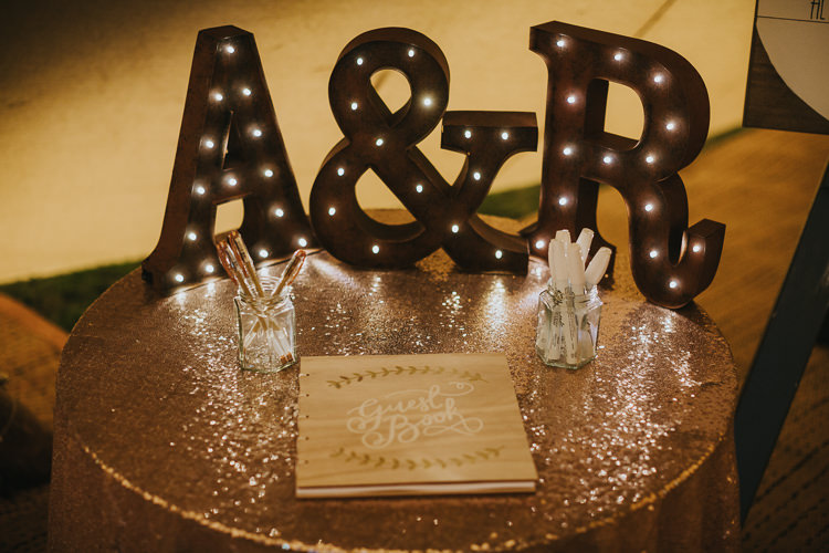 Wooden Guest Book Sequin Table Cloth Letter Lights Angrove Park Tipi Wedding Yorkshire Bloom Weddings
