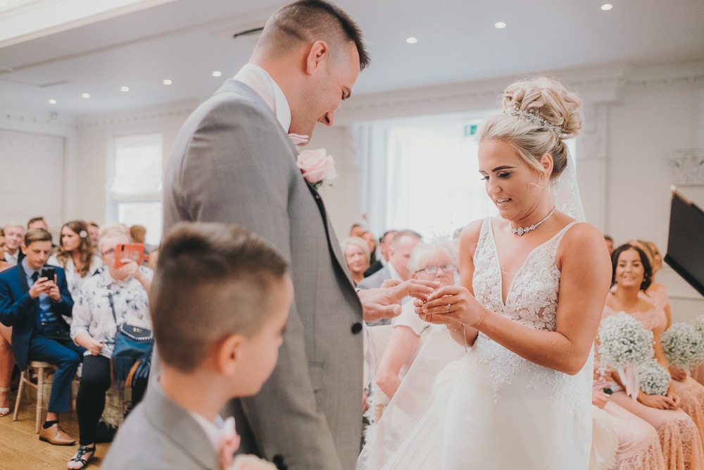 Indoor Ceremony Aisle Bride Groom Vows Rings Classic Traditional Elegant | Ashfield House Wedding Kate McCarthy Photography