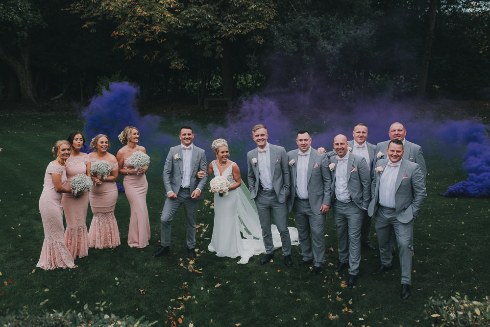 Bride Groom Bridesmaids Groomsmen Group Purple Smoke Bomb Classic Traditional Elegant | Ashfield House Wedding Kate McCarthy Photography