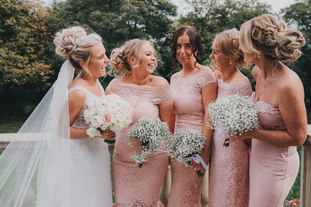 Bride Pink Bridesmaids Group Classic Traditional Elegant Round Bouquet | Ashfield House Wedding Kate McCarthy Photography