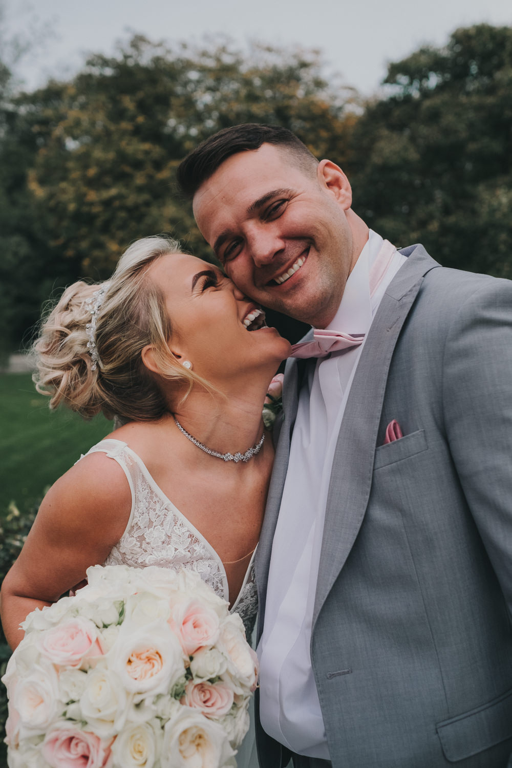 Bride Groom Happy Laughter Classic Traditional Bouquet Bridal Updo Grey Suit | Ashfield House Wedding Kate McCarthy Photography