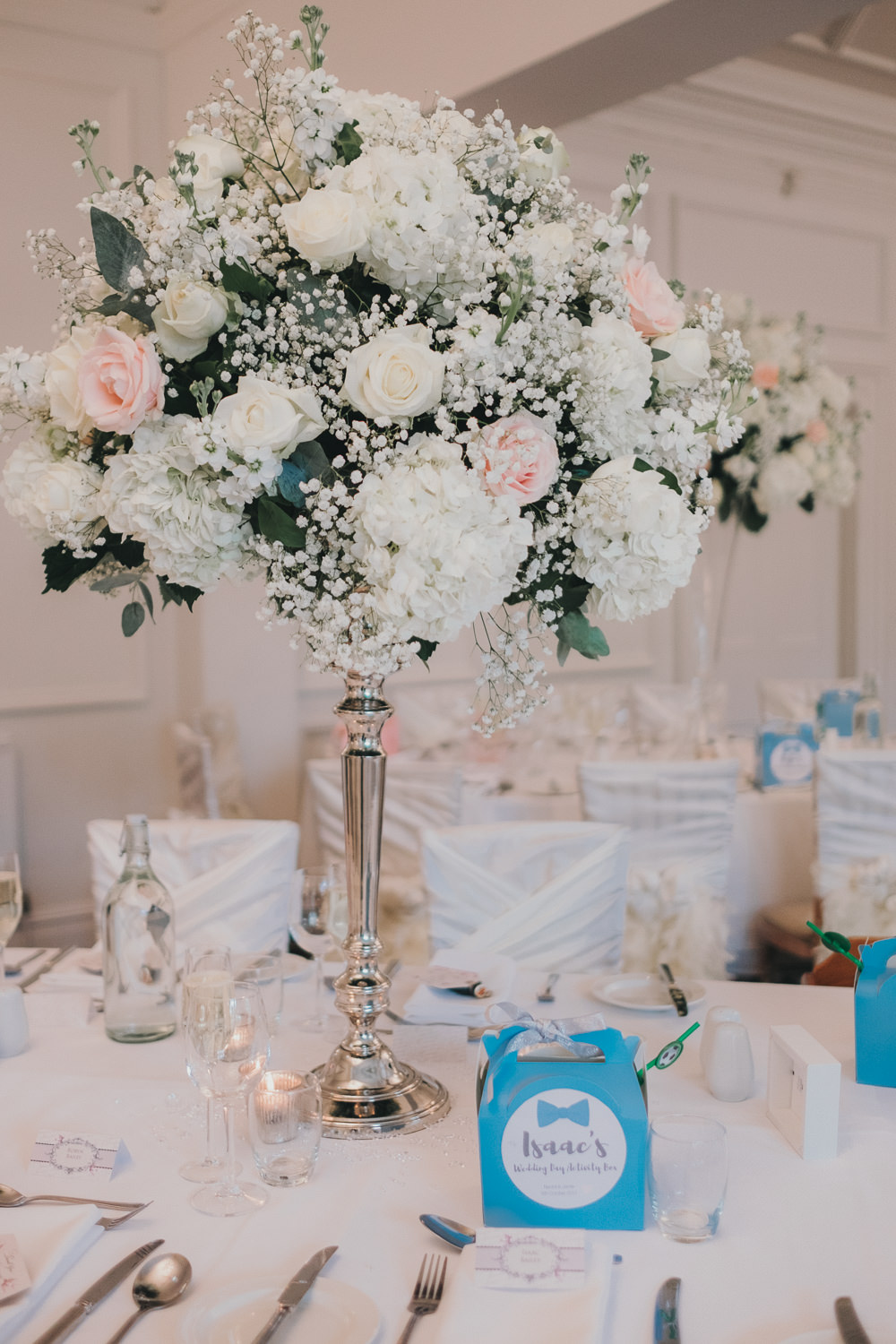 Dinner Reception Classic Elegant Tall White Blush Flowers Roses Gypsophila Baby's Breath Kids Activity Pack | Ashfield House Wedding Kate McCarthy Photography