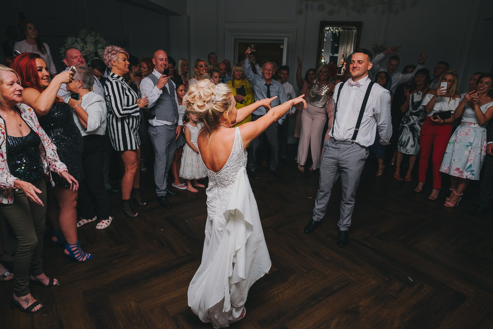 Bride Groom First Dance Floor Fun Updo Braces Grey Suit | Ashfield House Wedding Kate McCarthy Photography