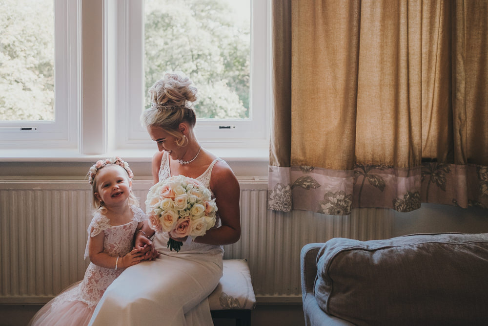 Bride Bridal Prep Morning Hair Updo Classic Traditional Elegant Pink Flower Girl | Ashfield House Wedding Kate McCarthy Photography