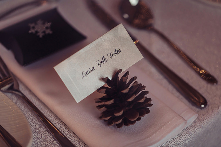 Pine Cone Place Card Name Magical Wonderland Askham Hall Wedding Winter Tiree Dawson Photography