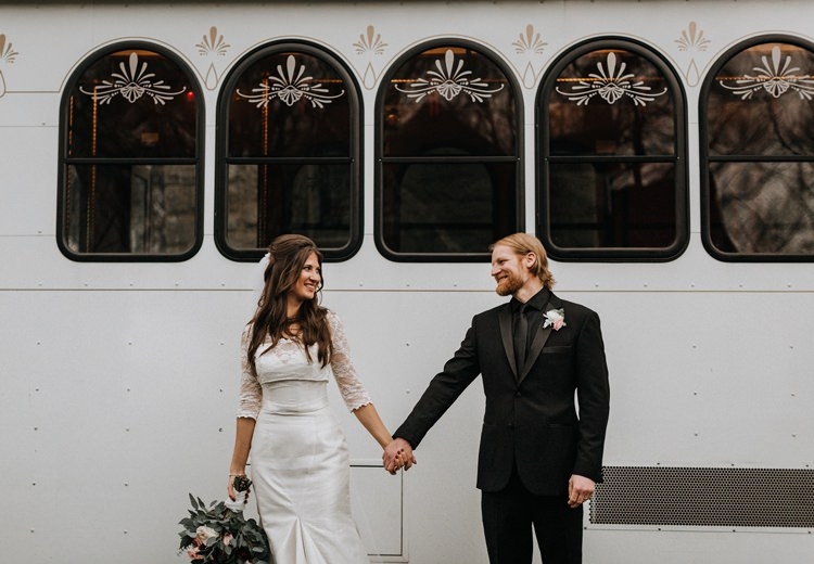 Warehouse Rustic Chic Refined Street Photography Groom Bride Atlanta White Tram | Boho Industrial Winter Wedding Lunalee Photography