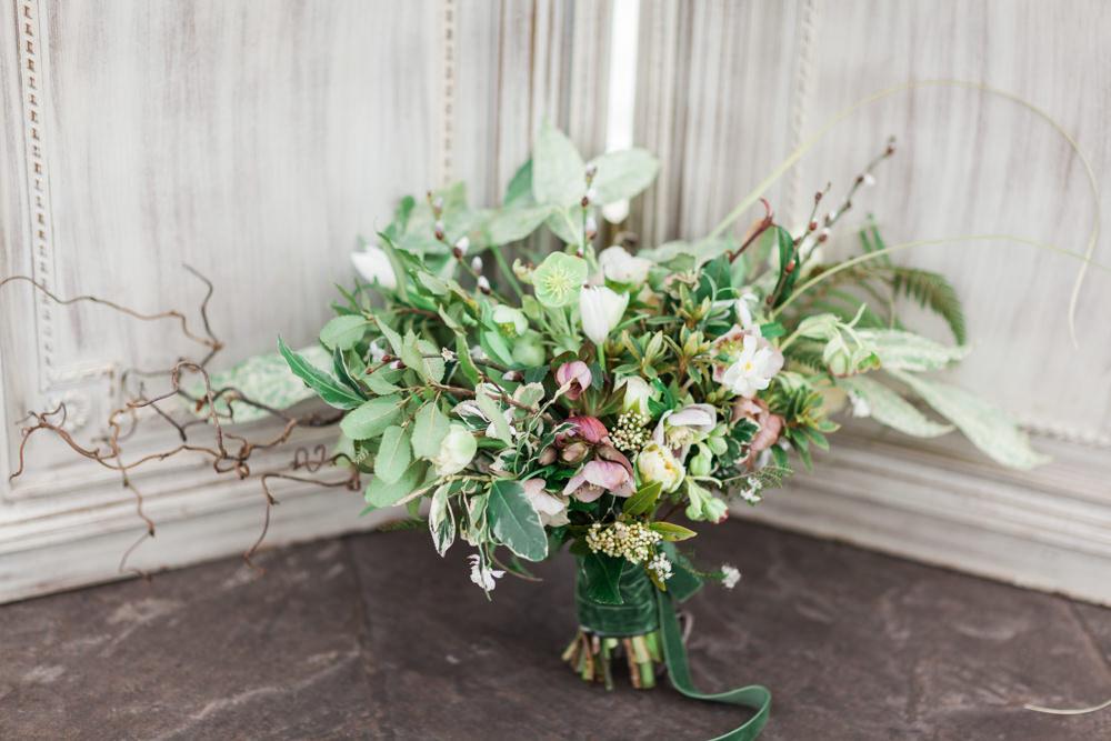 Bouquet Flowers Bride Bridal Greenery Foliage Fern Narcissi Hellebores Alstroemeria Snowdrops Botanical Macrame Glass House Wedding Ideas Jo Bradbury Photography