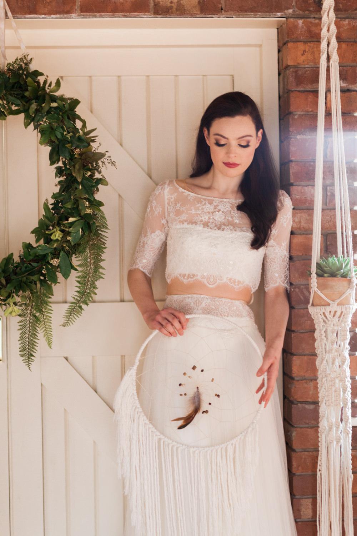 Dress Gown Bride Bridal Lace Top Skirt Botanical Macrame Glass House Wedding Ideas Jo Bradbury Photography