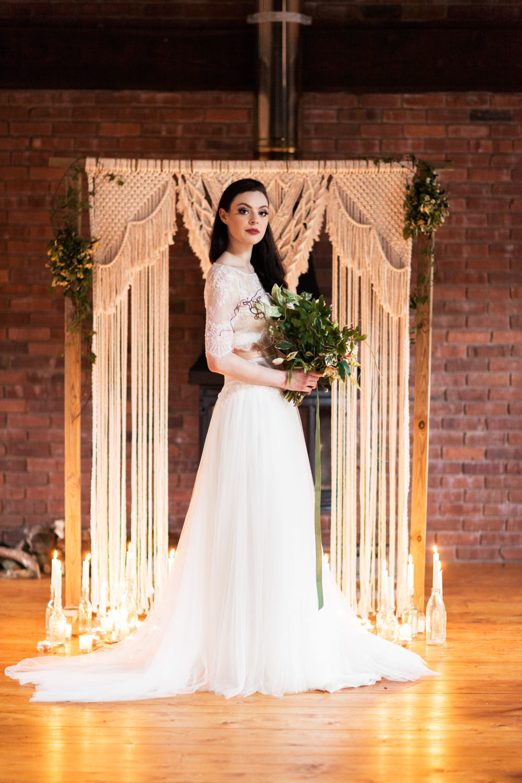 Backdrop Frame Candles Botanical Macrame Glass House Wedding Ideas Jo Bradbury Photography