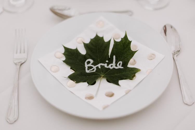 Leaf Place Name Table Setting Botanical Summer Garden Wedding Nottingham Grace Elizabeth Photo & Film