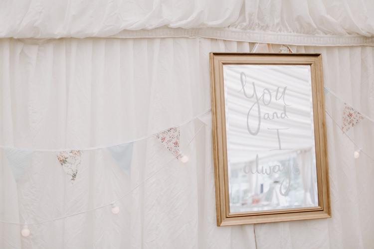 Mirror Quote Sign Love Botanical Summer Garden Wedding Nottingham Grace Elizabeth Photo & Film