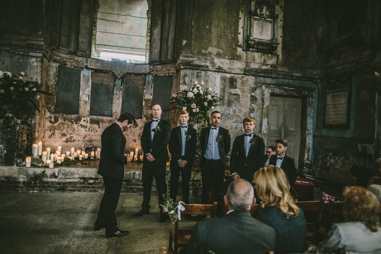 Groom Groomsmen Tuxedos Eclectic Asylum Wedding London Rusted Rose Photography