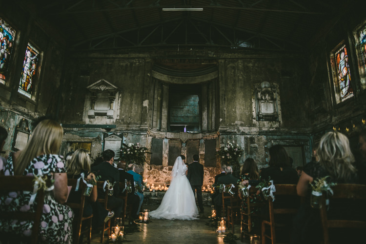 Candles Ceremony Eclectic Asylum Wedding London Rusted Rose Photography