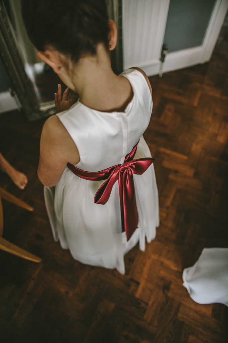 Flower Girl Dress Red Ribbon Sash Bow Eclectic Asylum Wedding London Rusted Rose Photography